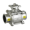 Sanitary Stailess Steel 3PC 1000 Wog Ture Port Clamped Ball Valve
