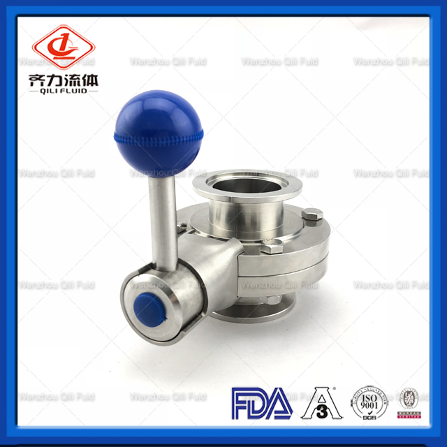 Sanitary Stainless Steel Clamped Butterfly Valve Food Grade SS304 SS316L