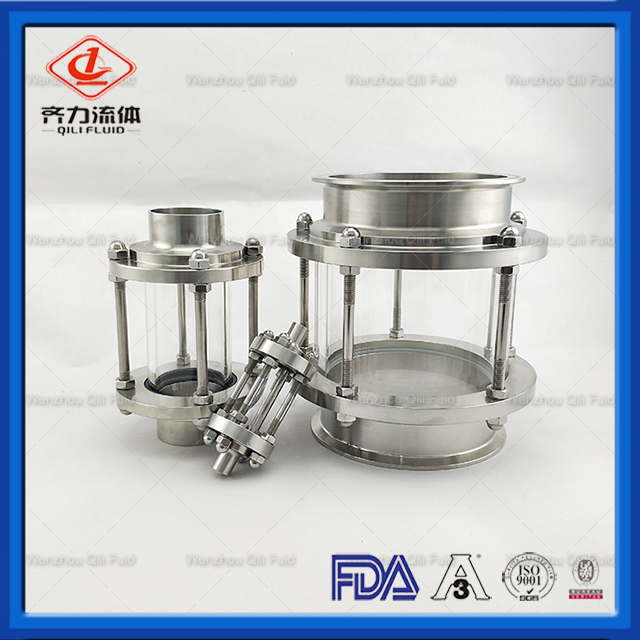 Sanitary Stainless Steel In Line Clamped Sight Glass