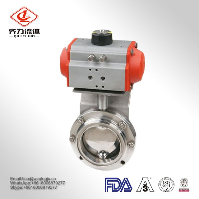 Best-Selling SS304/316L Sanitary Stainless Steel Pneumatic Butterfly Valve