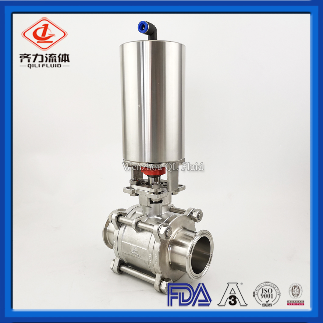 SS304 Or SS316L Stainless Steel Sanitary Tri Clamp Vertical Pneumatic Ball Valve